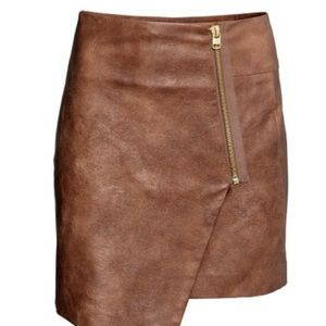 Asymmetrical faux leather brown skirt